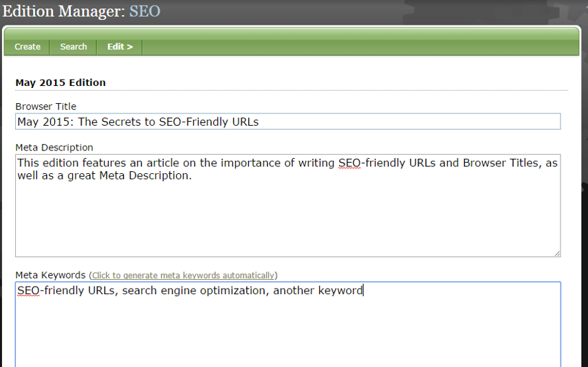 Edit SEO for this edition, including adding a SEO-friendly Browser Title, Meta Description and Keywords.