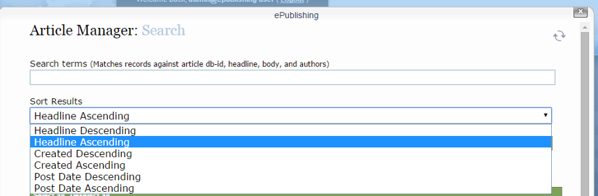 To search for an article, input the search terms and sort results by clicking on the dropdown.