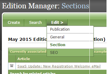 Click Save when you are finished adding content to your edition, and click on SEO under Edit.