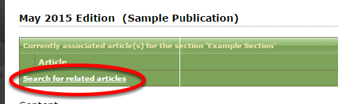 Click Search for related articles to associate an article with a section.