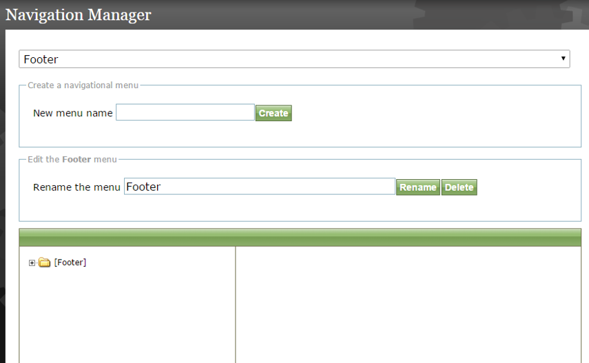 """For this example, we'll update the footer navigation. After selecting the """"Footer"""" menu, your page will look like this:"""