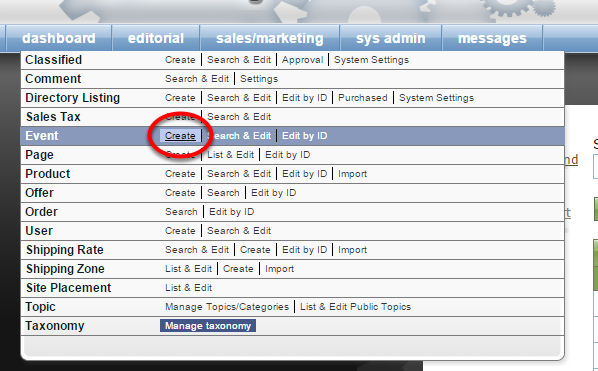 To create a new Event, click on Create next to Event under Sales/Marketing in your dashboard.