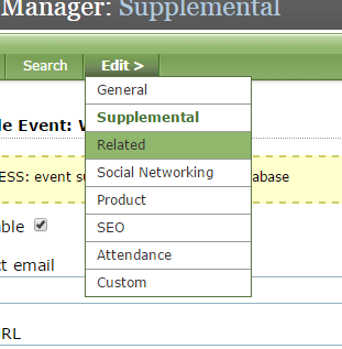 To associate related content with your event, click on Related under Edit.