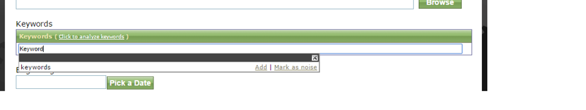 Add keywords by typing a keyword and hitting Enter on your keyboard.