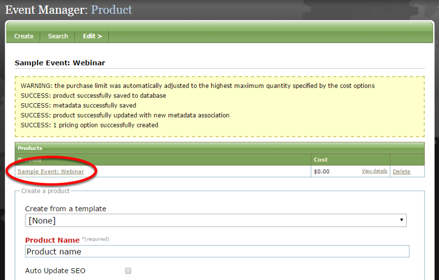 To finish creating your product, click on the link that appears at the top of your screen under Products.