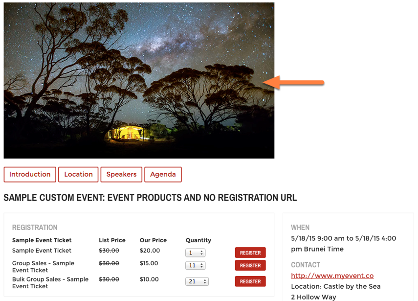 This is where the image will appear if you choose to take the microsite approach.