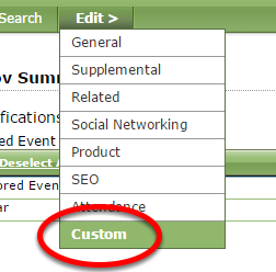To add custom page navigation and new sections to your Event's landing page, click Custom under Edit.