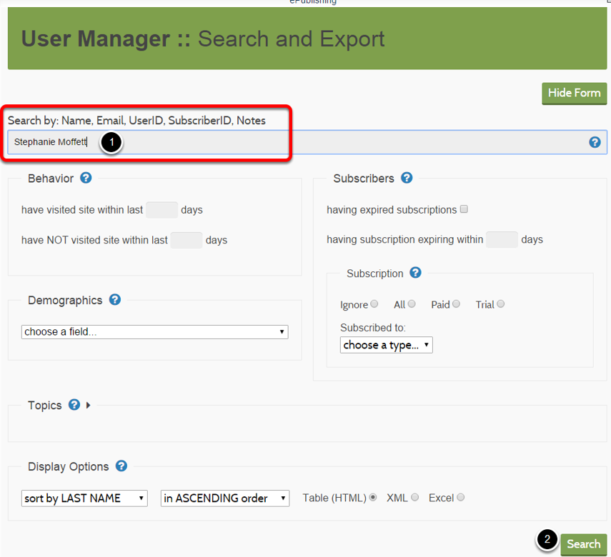 Enter the user's name or other identifying information in the Search field, and click Search.
