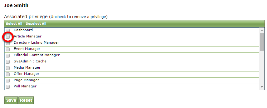Another option: Select Privileges to assign access to specific areas of your website and click Save.