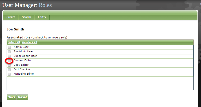 Select the appropriate role for your new user by clicking on the box next to the title.