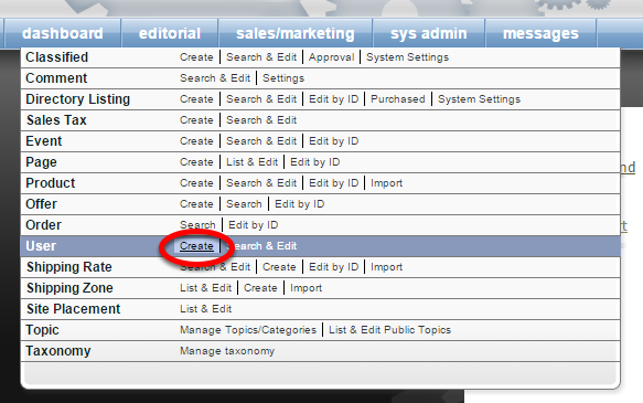 Under Sales/Marketing, select Create next to User on your dashboard.