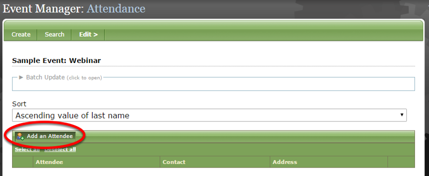 Click Add an Attendee.