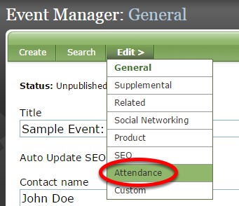 Access the attendee list by clicking Attendance under Edit in the Event Manager.