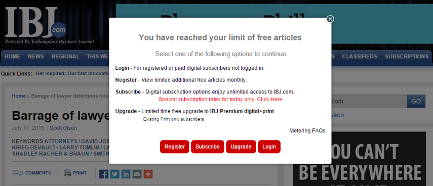 You can also update the messaging that appears when the reader has used its quota of free articles. For example: