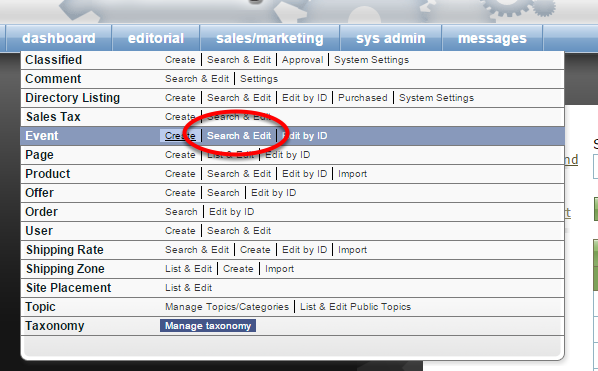 To access an existing event, click on Search & Edit next to Event under Sales/Marketing in your dashboard.