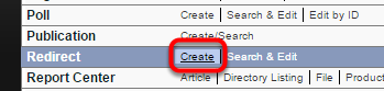 Click on Create next to Redirect Manager under Editorial on your dashboard.