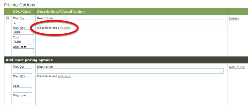 Classifications are found under Pricing Options on the first page of your product.