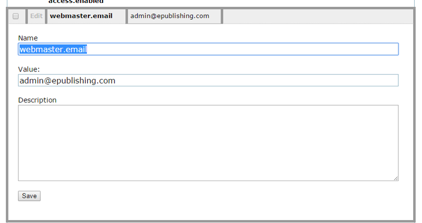 Update the Value with the email address you'd like to receive webmaster emails. Only one email address is allowed here.