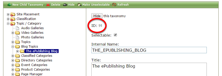 To find the taxonomy ID, go to the Taxonomy Manager and click on the taxonomy you'd like to include. The ID number is circled below.