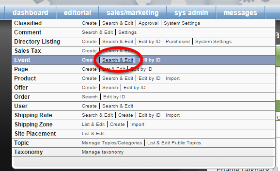 Or click on Search next to Event under Sales/Marketing in your main navigation.