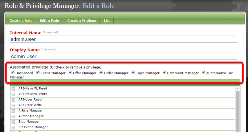 When you click, you'll be taken to the role in the Role & Privilege Manager.
