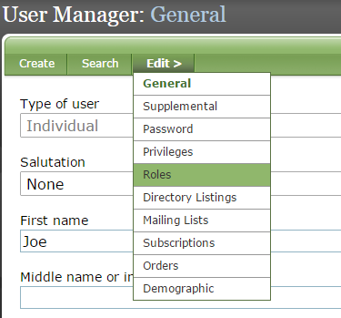 Under Edit, select Roles to assign a role to the new user.