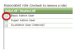 Select Basic Admin User under Associated Role.