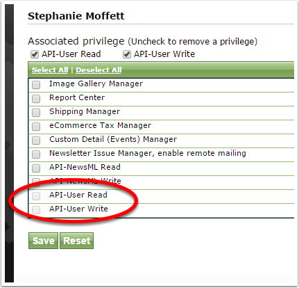Select API-User Read and/or API-User Write by clicking the box next to each.