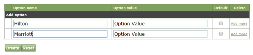 To add an option for selection, type it into the Option Label box. This allows the admin user setting up the event to select the correct option for that event. For example, which hotel the event is held at.