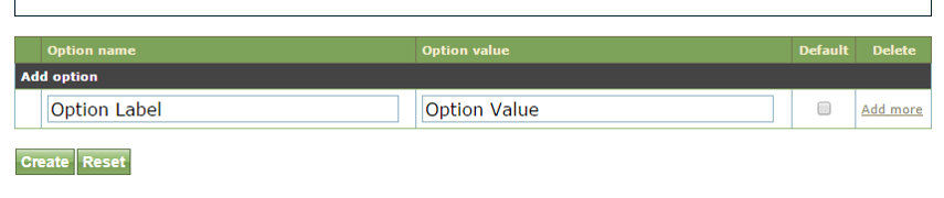 When Checkbox, Selection or Radio Button are selected as the Field type, the options available will show under Classification.
