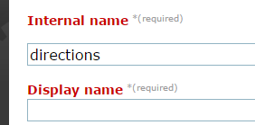 Internal Name is required. This should be a short descriptive name in lowercase about this section of the event landing page. For example: directions or speakers.