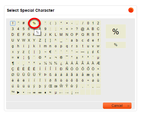 Click on the character you'd like to insert into your content.