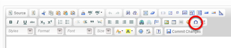 To view the available special characters on the WYSIWYG for easy placement, click the horseshoe shape on the right side (circled below).