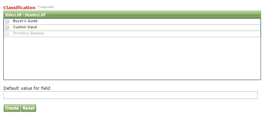 """For Textarea or Textfield, a """"default value for field"""" will appear under the Classification. This is optional."""