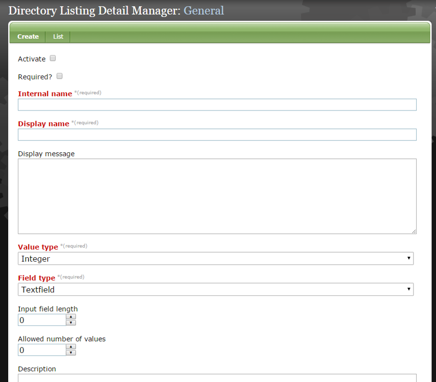 To create a new custom directory listing detail, select Create & Edit. The Directory Listing Detail Manager will open.