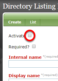 """If """"Activate"""" is unchecked, it will be visible when editing the Custom portion of your Directory Listing in the Directory Listing Manager."""