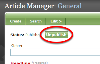 Option 1: Unpublish the content using the relevant tool.