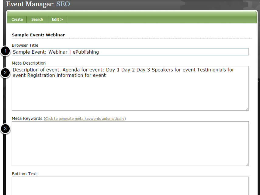 SEO data will automatically be created based on your event setup.