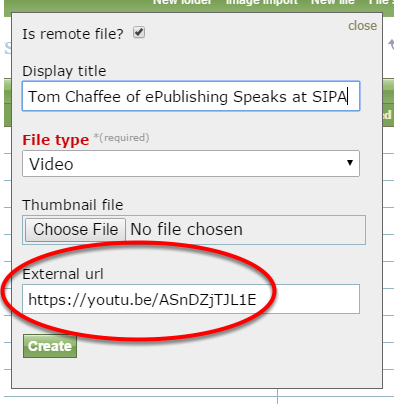 You may use this feature to associate videos hosted on YouTube or Vimeo. Select your file type, and paste the URL path of the file you wish to link to.