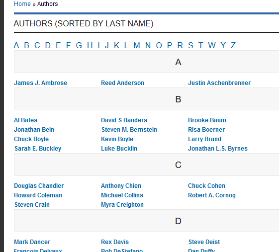 Here's an example of authors listed on ePublishing client Modern Distribution Management's website: