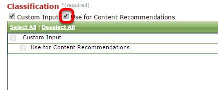 """Scroll down to theClassificationtaxonomy and de-select the""""Use for content recommendations""""taxonomy."""