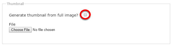 """Option 1: Ask the system to regenerate the thumbnail for the image. Open the image file, scroll down and click the box next to """"Generate thumbnail from full image?"""""""