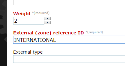 Add the weight this rate applies to, and add the External Reference ID that you assigned to your international zone when you set it up. This must match.