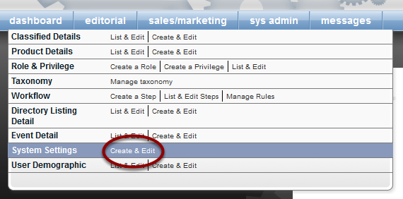 Find the system settings under Sys Admin in your dashboard.