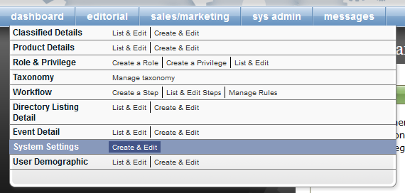 After noting your ID numbers, go to your System Settings, under Sys Admin in your dashboard.