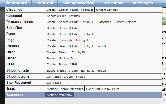 To start, go to the Taxonomy Manager, under Sales/Marketing in your dashboard.