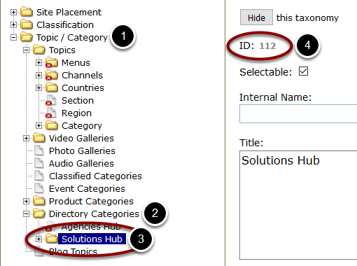Identify the taxonomy ID number of the directory you'd like to apply the tabs to. Usually, this is found under Topic / Category > Directory Categories. To view the ID number, click on the directory name.