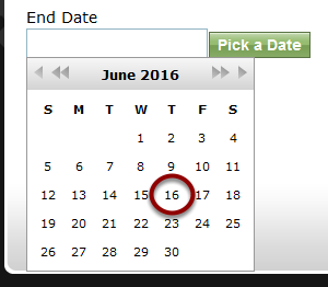 End Date: Select a date a distant time in the future. To change years, click the double arrow.