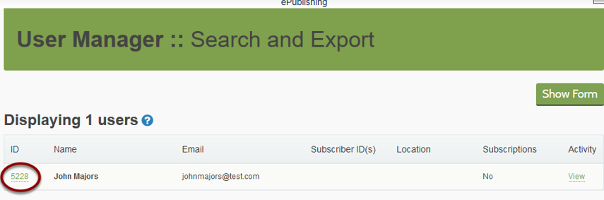 Open his record on the stage site in the User Manager by clicking the ID number next to his name.