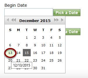 Begin Date: Select a date from the past.